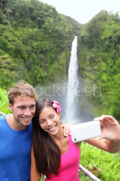 Para Fotografia Hawaii autoportret Zdjęcia stock © Maridav