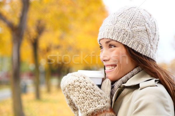 Coffee drinking woman in Autumn fall enjoying fall Stock photo © Maridav