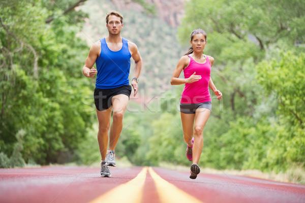 Stock fotó: Fut · fiatalok · jogging · képzés · természet · kettő