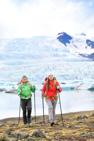 Adventure hiking travel people on Iceland Stock photo © Maridav