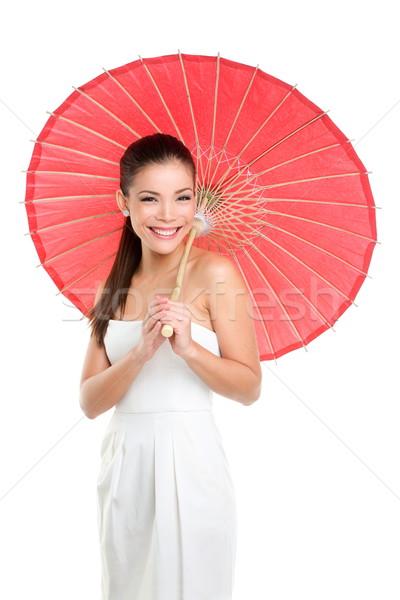 Stock fotó: Kínai · esküvő · nő · piros · papír · esernyő