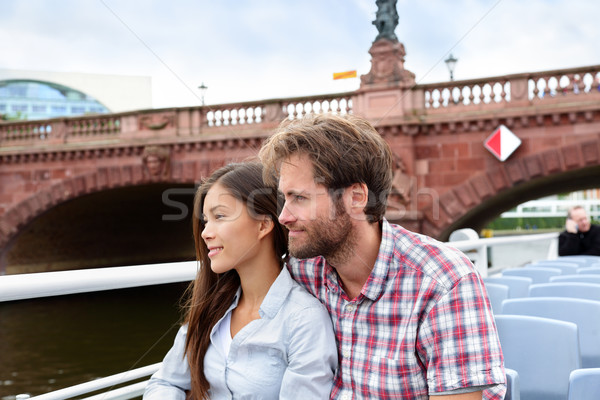 Couple travel in Berlin sightseeing on boat tour Stock photo © Maridav