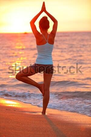 Szörfös lány szörfözik néz óceán tengerpart Stock fotó © Maridav