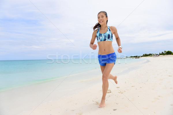 Futó nő fut tengerpart élet egészséges élet Stock fotó © Maridav