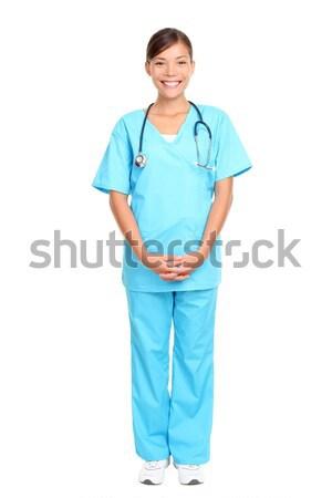 Сток-фото: азиатских · медсестры · Постоянный · изолированный · белый · кавказский