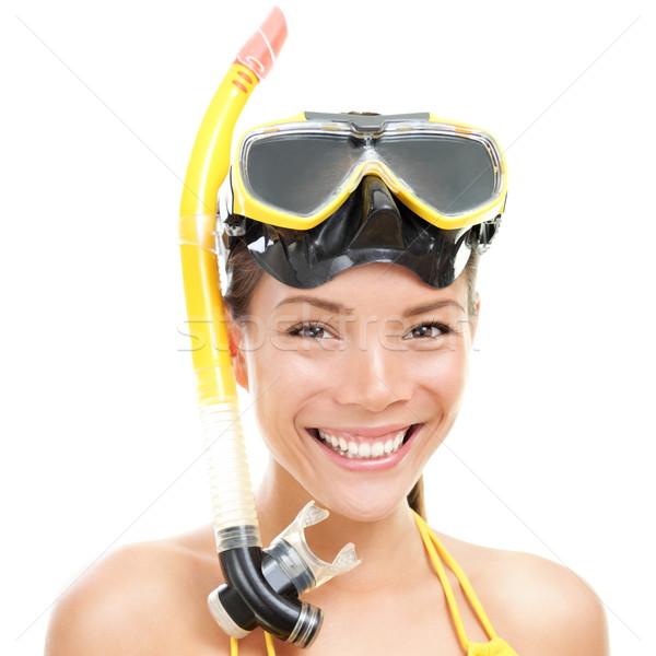 Vacanze nuoto donna isolato occhiali snorkel Foto d'archivio © Maridav