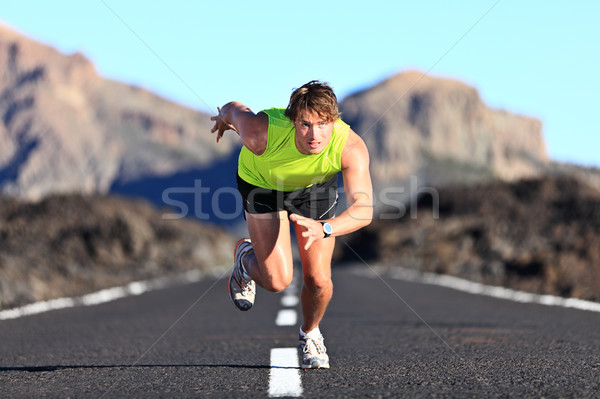 Sprinter running on road Stock photo © Maridav