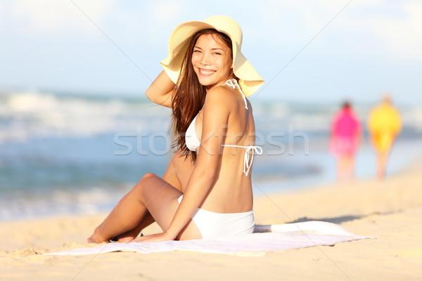Vacation beach woman happy Stock photo © Maridav