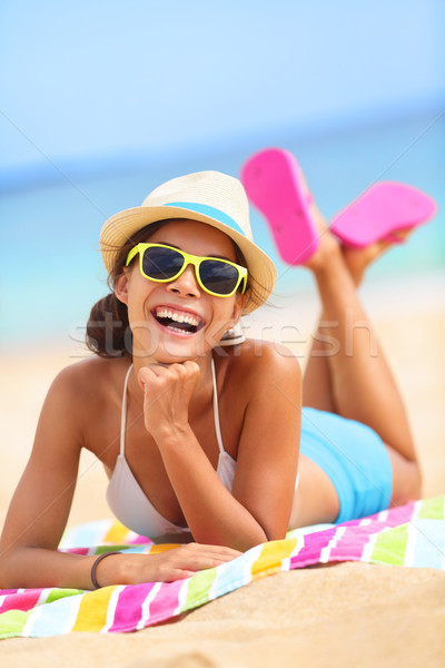 Beach woman laughing fun in summer Stock photo © Maridav
