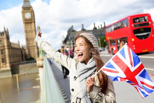 London - happy tourist holding UK flag by Big Ben Stock photo © Maridav
