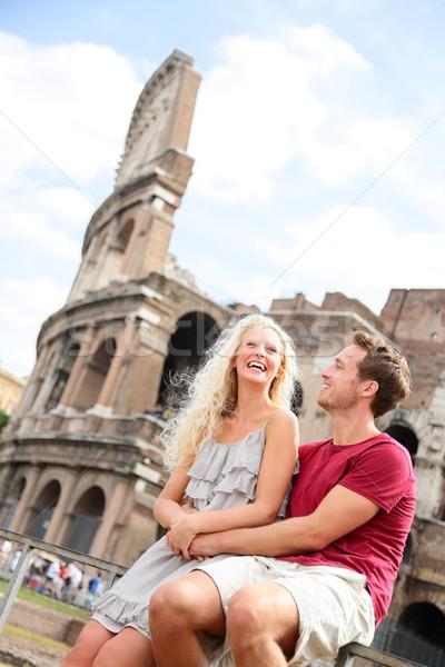 Сток-фото: туристических · пару · Рим · путешествия · знакомства · смеясь