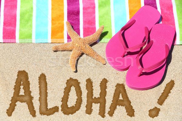 Hawaii tengerpart utazás aloha szöveg írott Stock fotó © Maridav