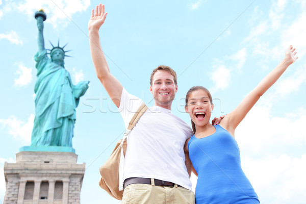 Travel tourists couple at Statue of Liberty, USA Stock photo © Maridav