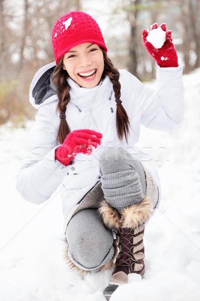 зима женщину играет снега снежный ком Сток-фото © Maridav