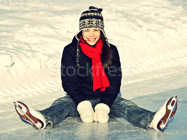 Ice skating fun outdoors Stock photo © Maridav