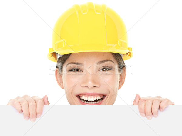 Construction worker / engineer woman showing sign Stock photo © Maridav