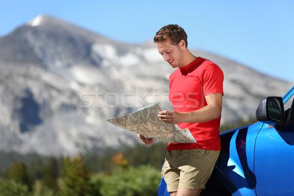 Kierowcy człowiek patrząc Pokaż samochodu yosemite Zdjęcia stock © Maridav