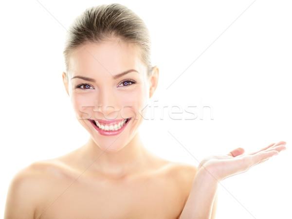 Body skincare care beauty Asian woman showing hand Stock photo © Maridav