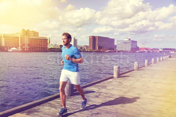 Városi férfi futó fut európai város Stock fotó © Maridav