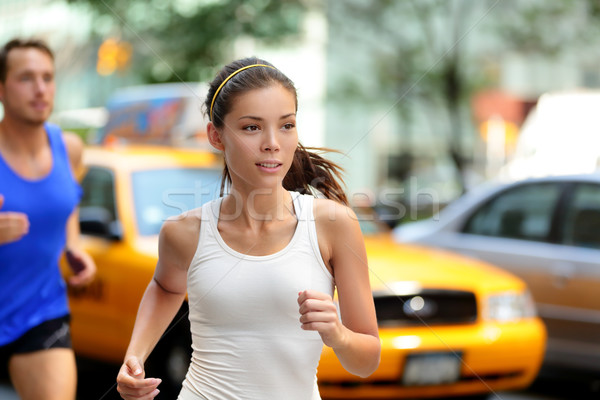 Active people jogging on New York city street, NYC Stock photo © Maridav