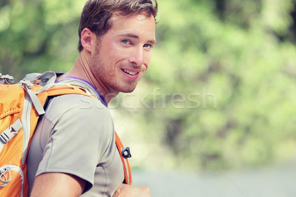 Fiatal mosolyog hátizsák férfi nyár erdő Stock fotó © Maridav