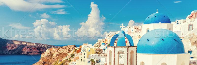 Three Domes church view of Santorini Oia Greece Stock photo © Maridav