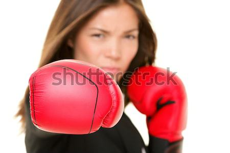 boxing business woman Stock photo © Maridav