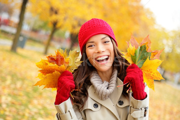 Fall woman happy and bliss Stock photo © Maridav