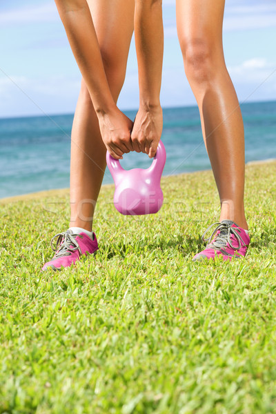 Stock photo: Kettlebell fitness training woman