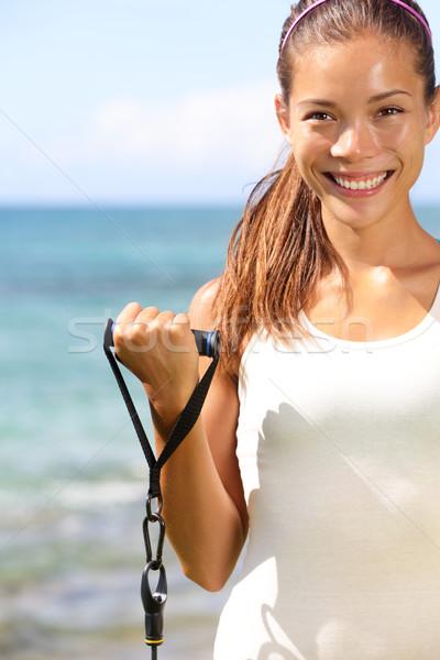 Fitness dziewczyna szkolenia plaży odporność dopasować Zdjęcia stock © Maridav