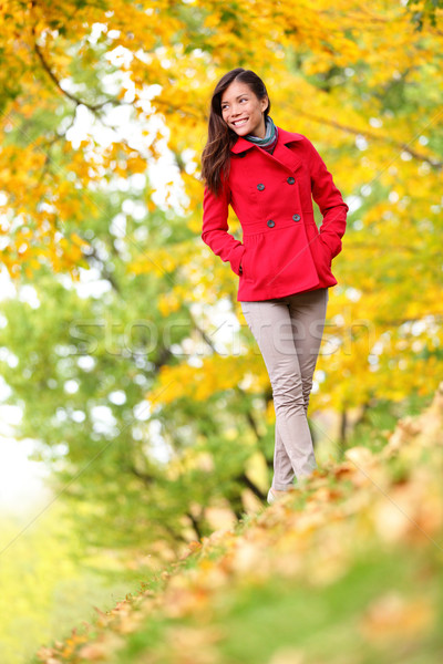 Beautiful young woman fall autumn nature scene Stock photo © Maridav