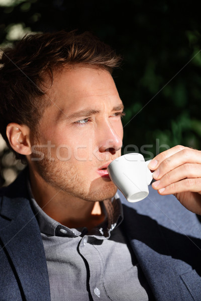Handsome man portrait drinking espresso at cafe Stock photo © Maridav