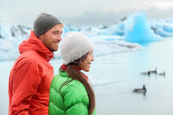 Hiking people visiting Jokulsarlon on Iceland Stock photo © Maridav