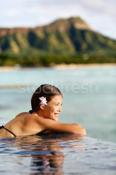 Reizen vrouw vakantie strand resort Stockfoto © Maridav