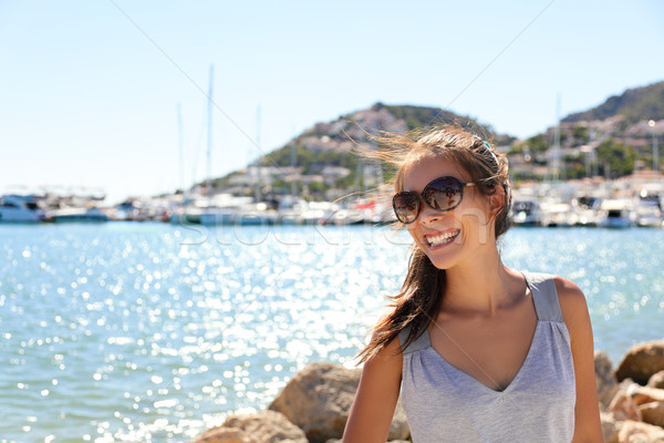 Leisure woman on holiday in yacht marina resort Stock photo © Maridav