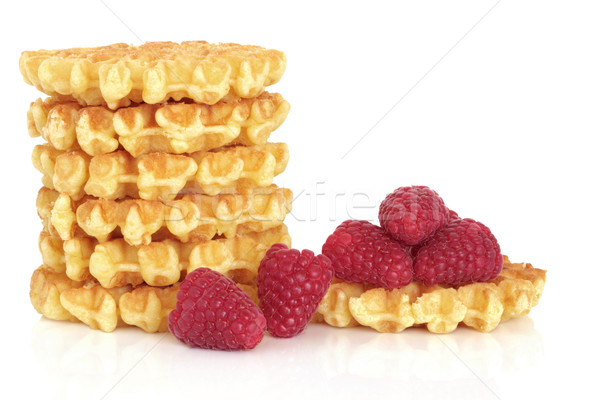 Waffles and Raspberry Fruit Stock photo © marilyna