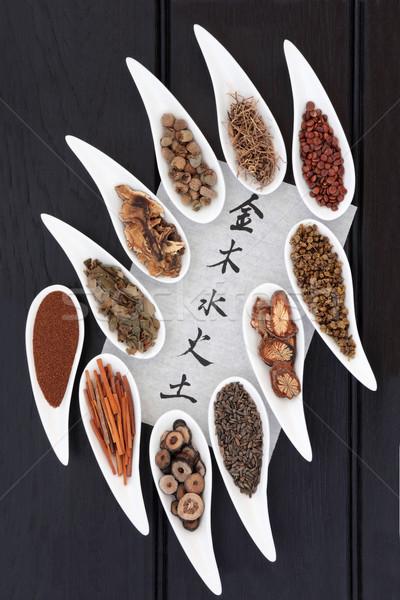 öt elemek kínai gyógynövény porcelán edények Stock fotó © marilyna