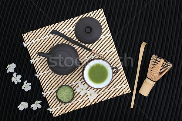Zöld tea szertartás teáskanna csésze merítőkanál bot Stock fotó © marilyna