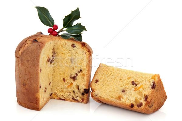 Stockfoto: Christmas · cake · plakje · ingericht · bes · blad