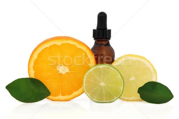 Narenciye aromaterapi şişe limon kireç Stok fotoğraf © marilyna