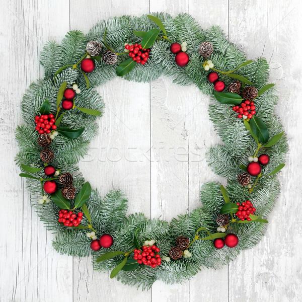 Рождества венок украшение красный безделушка украшения Сток-фото © marilyna