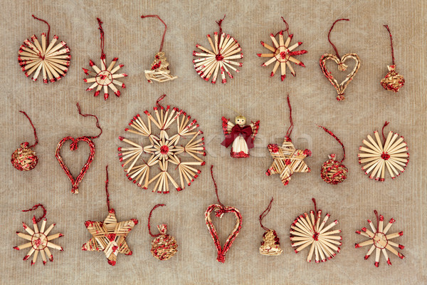 соломы рождественская елка украшения старые Гранж грубая оберточная бумага Сток-фото © marilyna