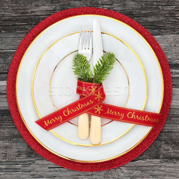 Christmas diner plaats tafel platen vrolijk Stockfoto © marilyna