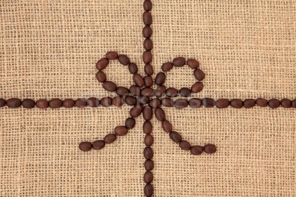 Kávébab terv absztrakt központi íj háttér Stock fotó © marilyna