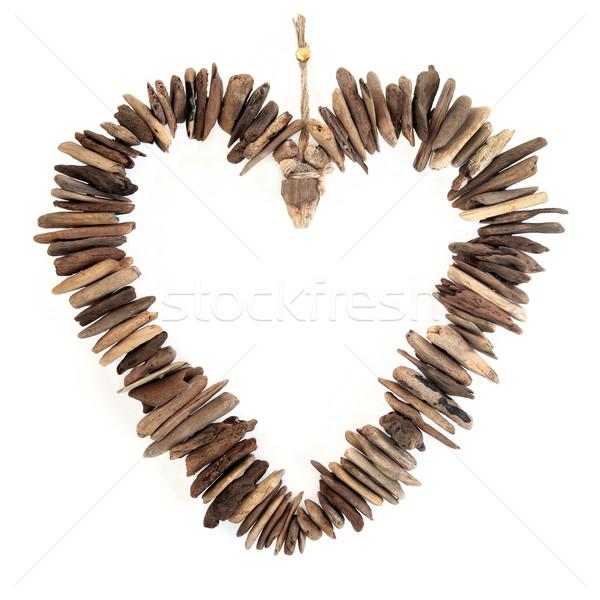 Driftwood Love Heart Stock photo © marilyna