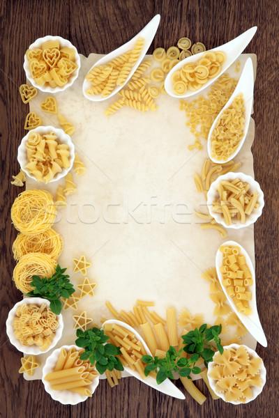 Pasta and Basil Border Stock photo © marilyna