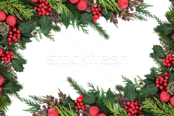 Рождества красный безделушка границе аннотация украшения Сток-фото © marilyna
