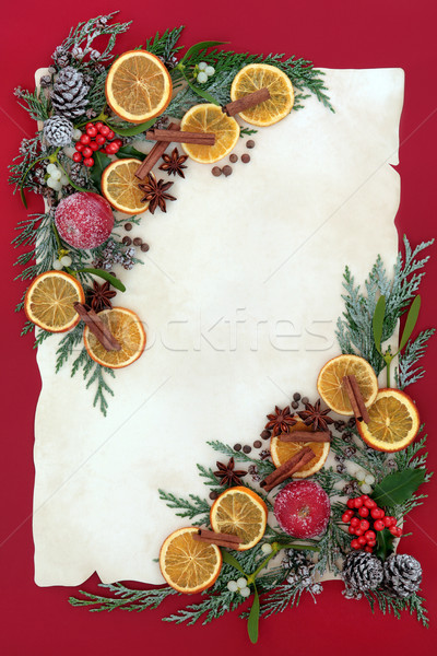 Photo stock: Noël · floral · frontière · fruits · épices · séché