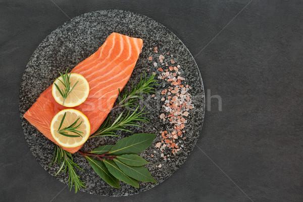 Frescos salmón alimentos saludables salud alimentos romero Foto stock © marilyna