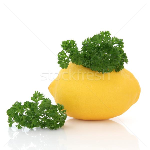 Stok fotoğraf: Limon · meyve · maydanoz · ot · yaprak · üst
